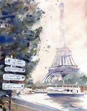 Giclee Paris Eiffel Tower Art France watercolor Painting La Tour Eiffel French