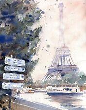 Giclee Paris Eiffel Tower Art France watercolor Painting La Tour Eiffel French