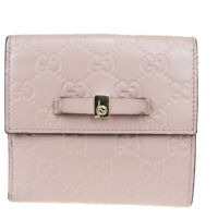 Auth Gucci GG Pattern Sherry Leather Wallet (bi-fold) Pink 05FB081