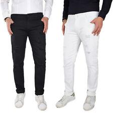 Jeans Uomo Strappati Cotone Pantaloni Elasticizzati Con Strappi Slim Fit VEQUE