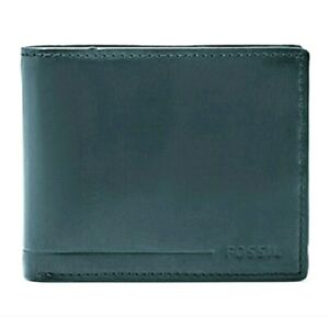 ❤️ $64 FOSSIL Allen Traveler Leather Trifold Wallet Midnight Blue RFID NWT ❤