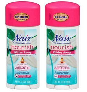 Nair Glides Away Nourish Moroccan Argan Oil Hair Remover 3.3oz (2 PACKS)