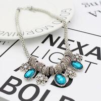 Blue Rhinestone Crystal Pearl Flower Charm Pendant Necklace Choker Silver Chain