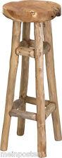 Barhocker Teakholz Hocker Natur 30x30x80 cm Sitz Stuhl Hocker hoch
