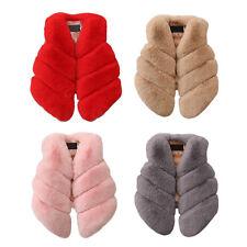 Kids Faux Fur Gilet Vest Waistcoat Warm Wrap Shrug Jacket Coat Outwear Overcoat