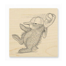 HOUSE MOUSE RUBBER STAMPS HAPPY HOPPERS GREAT CATCH NEW WOOD STAMP