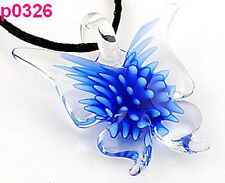 Fashion Women's Vivid Lifelike Blue Butterfly art lampwork glass pendant JP326