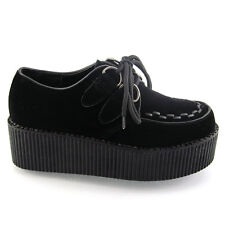 Ladies Lace up Flat Double Platform Womens Goth Creepers Punk Wedge Shoes Size Black Suede Uk4 / Eu37