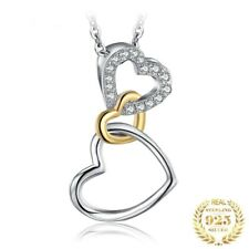 925 Sterling Silver Heart Shaped Pendant Choker Necklace Without Chain For Women
