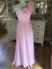 DESIGNER PINK EVENING LONG BALL GOWN BRIDESMAID ONE SHOULDER PROM DRESS 8 36 NEW