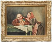 ANTIQUE OIL ON CANVAS BOARD DOMESTIC GENRE SCENE OF ELDERLY COUPLE