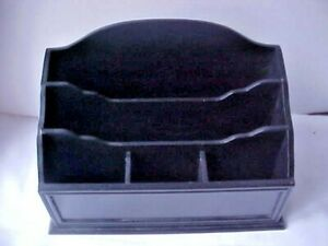 Letter Mail Desk Organizer Black Wood Five Compartments By Tres Chic Good Cond