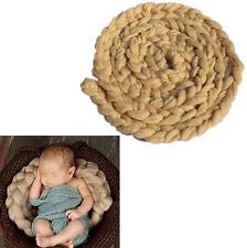 "157"" Newborn Baby Khaki Braided Rug Woolen Blanket Background Photography Props"