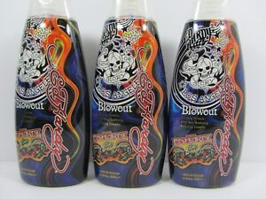 3 PACK ED HARDY BLOWOUT DARK BRONZING TANNING LOTION