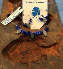 Handmade Blue Kyanite Fiber Optic Glass Stone Chip Necklace And Earring Set Fish