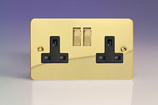 Varilight 2-Gang 13A Double Pole Switched Plug Socket with Metal Rockers (pack o