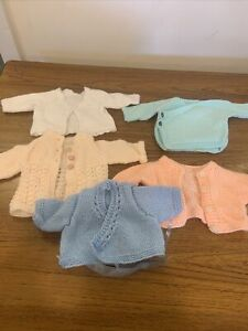 """Bundle 64 : 5 Hand Knitted Baby / Doll Cardigan Jumpers (12"""" Chest)"""