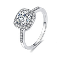 Fashion Silver Plated Simulated Round  Halo Diamond Cut Ladies Ring Size L N P R