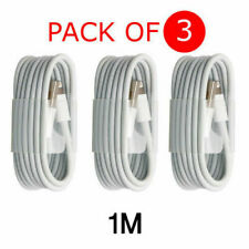 3x1M WHITE USB DATA SYNC CHARGER CABLE LEAD for  iPhone 5S 6 7 8 PLUS  iPod