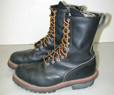 """RED WING 2218 Men's 9"""" Black Logger Lineman Leather Motorcycle Boots USA Sz:12D"""