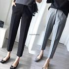 Women Korean Casual Slim OL Career High Waist Harem Pencil Crop Pants Trousers
