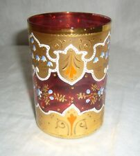 ANTIQUE CZECH MOSER GILT HAND PAINTED RED RUBY CRANBERRY GLASS WATER TUMBLER
