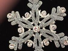 NIB LIZ CLAIBORNE SILVER CLEAR RHINESTONE WEDDING SNOWFLAKE PIN BROOCH JEWELRY