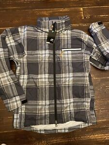 Nike NSW Water Repellant Lightweight Hooded Jacket Coat Sz Large Grey Check New
