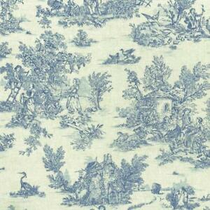 Textiles français Mini Toile de Jouy Fabric (La Vie Rustique) - Oxford Blue