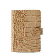 Filofax Personal Size Classic Croc Organiser Planner Diary Fawn Leather-026012