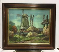 EARLY 20th CENTURY DUTCH IMPRESSIONIST WINDMILL Oil Painting Signed H Donkelaar