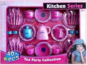 40Pc Girls Pink Kitchen Tea Party Set Toy Kids Children - Perfect XMAS GIFT