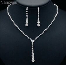 Silver Simple Crystal Tassel Drop Necklace and Earrings Wedding Jewellery Set