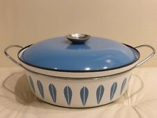 "Cathrineholm Norway Blue Lotus on White Enamelware 10 3/4"" Covered Casserole"