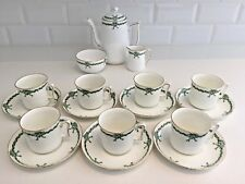 Tuscan Ribbon Bow Vintage China Coffee Set Green Art Deco Demitasse Cups 17-Pc