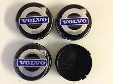 4 Set Black  / Blue ALLOY WHEELS CENTER CAPS SET Face 64mm Clip 62mm for VOLVO