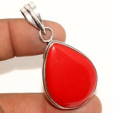 """Red Coral 925 Sterling Silver Plated Pendant 2"""" GW"""