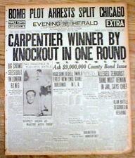 BEST 1922 newspaper HUGE BOXING headline GEORGES CARPENTIER defeats JEWISH boxer