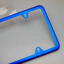 4 Hole Slim Blue Stainless Steel License Frame Fiat Honda Toyota Audi Subaru