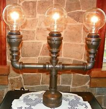 Handcrafted Industrial Pipe Goblet Lamp with nostolgic edison bulbs in Hazelnut