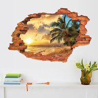 Wandtattoo Wandaufkleber 3D Fenster Strand Sonne Meer Wohnzimmer Schlafzimmer`