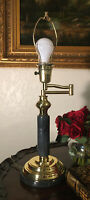 """Vintage Rembrandt Marble & Brass Reading Table lamp 22.5"""" H With Extending Arm"""