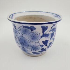 Chinoiserie Blue And White Glazed Ceramic Flower Pot Planter w/Drainage Hole