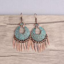 Bohemian Style Carved Bronze Alloy Tassel Dangle Vintage Women Earrings Gift