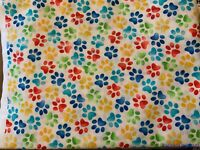 "FQ Timeless Treasures Bright Paw Prints White Cotton Fabric 18""Lx21""W-BTFQ"