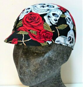 CYCLE CYCLING SPORT BLACK RED WHITE SKULLS ROSES COTTON BICYCLE CAP HAT UK MADE