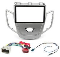 Autoradio Blende Adapter Kabel Set für Ford Fiesta MK7 JA8 2008-2013 silber 2DIN