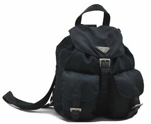 Authentic PRADA Nylon Leather Backpack Navy Blue D7175