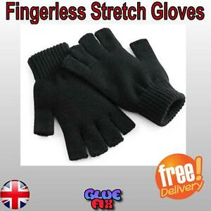 Thermal Fingerless Stretch Winter Gloves Grip Gripper Half Finger Work