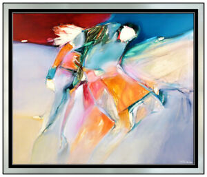 Jean Richardson Large Oil Painting on Canvas Native American Portrait Abstract